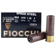 "Fiocchi Speed Steel 12 Gauge 3"" 1-1/8 oz #4 Non-Toxic Steel Shot- Box of 25"