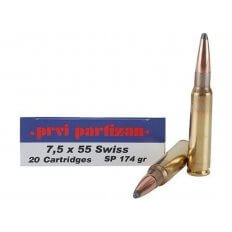 Prvi Partizan 7.5x55mm Swiss 174 Gr. Soft Point- Box of 20