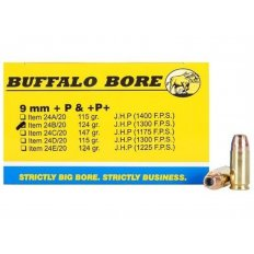 Buffalo Bore 9mm Luger +P+ 124 Gr. Jacketed Hollow Point- Box of 20