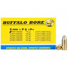 Buffalo Bore 9mm Luger +P+ 115 Gr. JHP- Box of 20