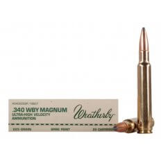 Weatherby .340 Weatherby Magnum 225 Gr. Hornady Spire Point- Box of 20