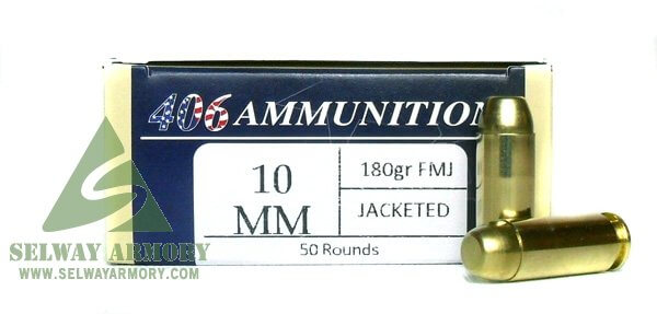 406Ammunition 10mm Auto 180 Gr. Plated Round Flat Point-10MM-180-FMJ