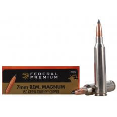 Federal Premium Vital-Shok 7mm Remington Magnum 150 Gr. Trophy Copper Tipped Boat Tail- Lead-Free- Box of 20