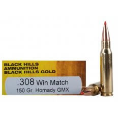 Black Hills Gold .308 Winchester 150 Gr. Hornady GMX- Lead-Free- Box of 20