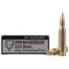 Nosler Varmageddon .222 Remington 40 Gr. Hollow Point Flat Base- Box of 20
