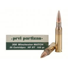 Prvi Partizan Match .308 Winchester 168 Gr. Hollow Point Boat Tail- Box of 20