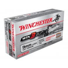 Winchester Win3Gun 9mm Luger 147 Gr. Brass Enclosed Base- Box of 50