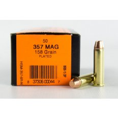 HSM .357 Magnum 158 Gr. Plated Flat Point Round Nose- Remanufactured- Box of 50