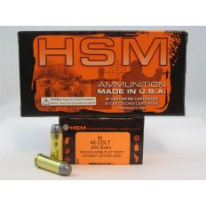 "HSM .45 Long Colt 200 Gr. Round Nose Flat Point ""Cowboy Action"" Lead- Box of 50"