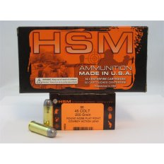 "HSM .45 Long Colt 250 Gr. Round Nose Flat Point ""Cowboy Action"" Lead- Box of 50"