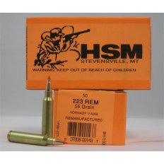 HSM .223 Remington 55 Gr. Hornady V-Max - Remanufactured- Box of 50