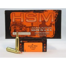 HSM .22-250 Remington 55 Gr. V-Max- Box of 20
