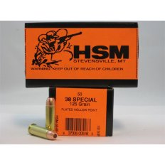 HSM .38 Special 125 Gr. Plated Hollow Point- Box of 50