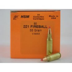 HSM .221 Fireball 55 Gr. Hornady V-Max- Box of 50
