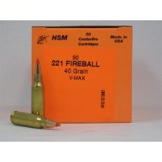 HSM .221 Remington Fireball 40 Gr. V-Max- Box of 50