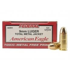 Federal American Eagle 9mm Luger 124 Gr. Total Metal Jacket- Box of 50