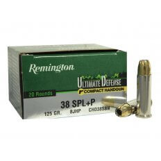 Remington Compact Handgun Defense .38 Special +P 125 Gr. Brass Jacketed Hollow Point- Box of 20