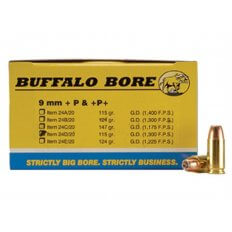 Buffalo Bore 9mm Luger +P 115 Gr. JHP- Box of 20