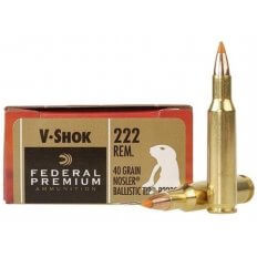 Federal Premium V-Shok .222 Remington 40 Gr. Nosler Ballistic Tip Varmint Spitzer- Box of 20