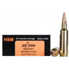 HSM Trophy Gold .300 Winchester Short Magnum (WSM) 168 Gr. Berger Hunting VLD Hollow Point Boat Tail- Box of 20