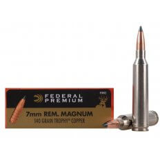 Federal Premium Vital-Shok 7mm Remington Magnum 140 Gr. Trophy Copper Tipped Boat Tail Lead-Free- Box of 20