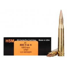 HSM Trophy Gold .300 H&H Magnum 168 Gr Berger Hunting VLD Hollow Point Boat Tail- Box of 20