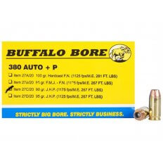 Buffalo Bore .380 ACP +P 90 Gr. Jacketed Hollow Point- Box of 20