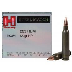 Hornady Steel Match .223 Remington 55 Gr. Hollow Point Steel Case- Box of 50