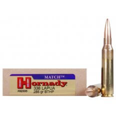 Hornady Custom .338 Lapua Magnum 285 Gr. Hollow Point Boat Tail Match- Box of 20