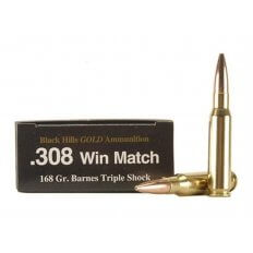 Black Hills Gold .308 Winchester 168 Gr. Barnes TSX Bullet Hollow Point Boat Tail- Lead-Free- Box of 20