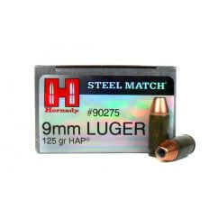Hornady Steel Match 9mm Luger 125 Gr. HAP Jacketed Hollow Point- Steel Case- 90275