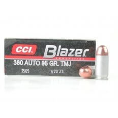 CCI Blazer .380 ACP 95 Gr. Full Metal Jacket- Box of 50