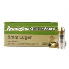Remington Golden Saber 9mm Luger 147 Gr. Brass Jacketed Hollow Point- Box of 25