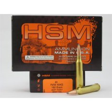 HSM 7mm Remington Magnum 162 Gr. Soft Point Boat Tail- Box of 20