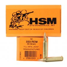HSM .223 Remington 55 Gr. Full Metal Jacket- Remanufactured- Box of 50