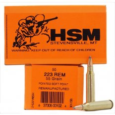 HSM .223 Remington 55 Gr. Pointed Soft Point - Remanufactured- Box of 50