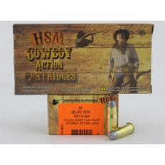 "HSM .38-40 Winchester 180 Gr. Round Nose Flat Point ""Cowboy Action"" Lead- Box of 50"