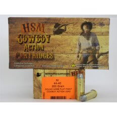 "HSM .44-40 200 Gr. Round Nose Flat Point ""Cowboy Action"" Lead- Box of 50"