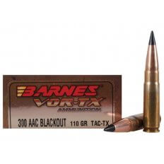 Barnes VOR-TX .300 AAC Blackout 110 Gr. Tipped TAC-TX Bullet Flat Base Lead-Free- Box of 20