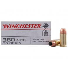 Winchester USA .380 ACP 95 Gr. Jacketed Hollow Point- Box of 50