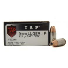 Hornady TAP Personal Defense 9mm Luger +P 124 Gr. TAP FPD JHP- Box of 25