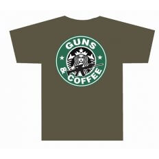 TUFF Products Guns and Coffee T-Shirt- Large- Olive Drab TUF3001ODLG