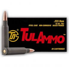 TulAmmo .223 Remington 62 Gr. FMJ (Bi-Metal) Steel Case Berdan Primed- Box of 20