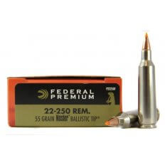 Federal Premium V-Shok .22-250 Remington 55 Gr. Nosler Ballistic Tip- Box of 20