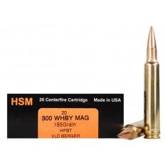 HSM Trophy Gold .300 Weatherby Magnum 185 Gr. Berger Hunting VLD Hollow Point Boat Tail- Box of 20