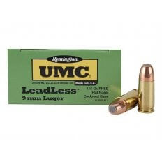 Remington UMC LeadLess 9mm Luger 115 Gr. Flat Nose Enclosed Base- Box of 50