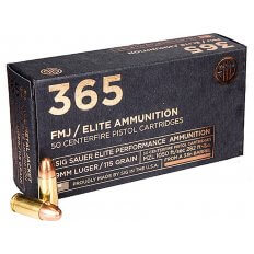 SIG SAUER 365 Elite Performance 9mm Luger 115 Gr. Full Metal Jacket E9MMB1-365-50